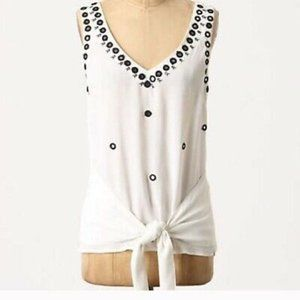 ANTHROPOLOGIE LEIFNOTES EMBROIDERED TIE FRONT TOP